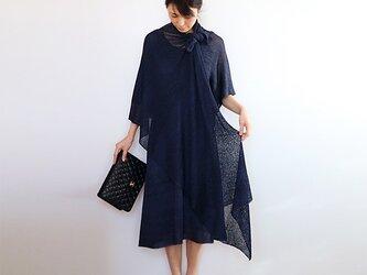 ◆即納◆Norma[ノルマ] ボーダーラメ・ベーシック・ストール / ネイビー・ブルー(紺ラメ入り)の画像