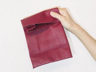 牛革 ワイン ブラウンバッグ クッキー袋型 ハンドバッグの画像