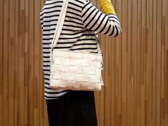 ソファ用牛革製 / ショルダーバッグ/ 白色の画像