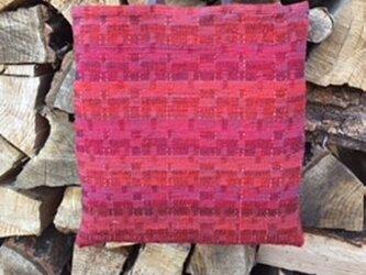 □手織/裂き織りトートバック/ワインレッドの画像