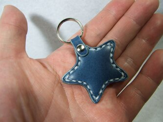 小さな星のキーホルダー 青x白の画像
