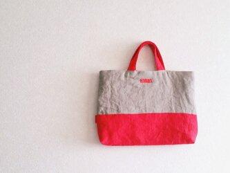 リネンの手提げbag グレー+赤の画像