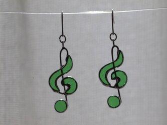 ト音記号 (緑) ピアスの画像