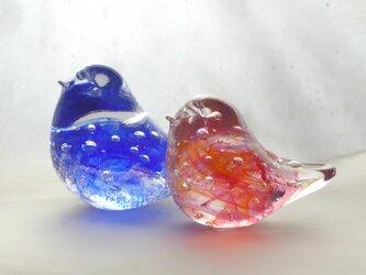 一点物★おひなさまのようなガラス小鳥ペアの画像