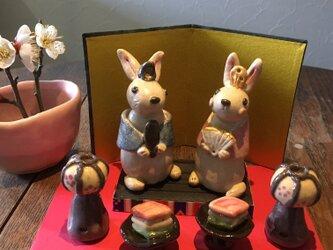 うさぎのお雛さまセット(桃の節句) ぼんぼり ひし餅  ひな祭り お雛様 ひな人形 陶器の画像