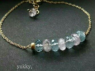 宝石質アクアマリンAAA*モルガナイトAAAボタンカット*ブレスレット14kgfの画像