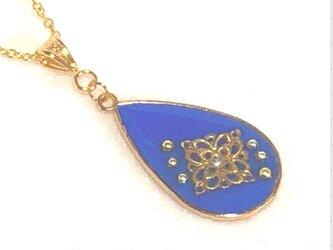 キラキラストーンのアンティークネックレス ブルーの画像