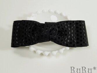 *B1* 高級リボンのバレッタ(黒/水玉模様)の画像