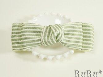 *B5* 高級リボンのバレッタ(グリーン×白/ストライプ)の画像