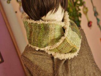 手織り もこもこファー二重巻ロングスヌードの画像