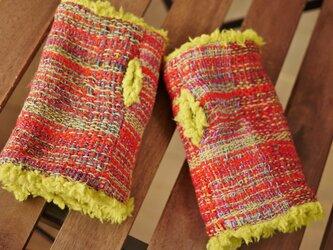手織り もこもこファーアームカバーの画像
