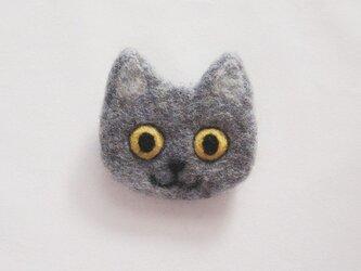 【受注制作】猫顔フェルトブローチ(ブルー)の画像