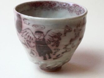 天使と猫と鳥の器 / 陶芸 /釉裏紅 /茶器 /ティーカップ /ceramic /pottery /teacupの画像