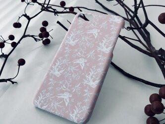 iPhone/Galaxy/Xperia対応 スマホケース バード柄 ピンクの画像