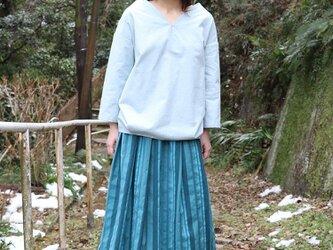 綿ウールのブルーストライプスカートの画像