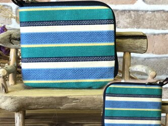 【薄い財布】倉敷帆布 カード・お札・小銭一括収納 二つ折り財布 緑系生地紺ファスナーの画像