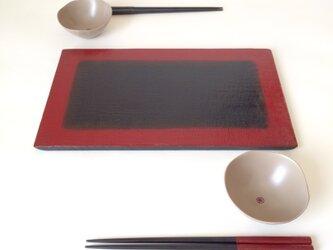 布目ぼかし塗平皿(大) 漆器の画像