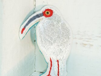 朱鷺さん(トキ)*刺繍ブローチの画像