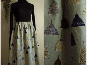 期間限定sale送料無料 ランプシェード柄 コットンリネン ロングスカート ブルー系の画像
