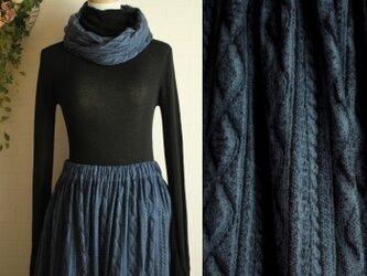 送料無料sale スヌードset 紺色 アランニット柄 起毛 Wガーゼ ロング スカートの画像