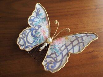 蝶々コーム☆アンティーク着物生地使用☆白柄☆の画像