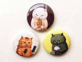 カマノレイコ・猫イラスト・甘党バッジ3個セットの画像