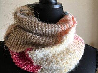 ふんわりガーター編みのスヌードの画像