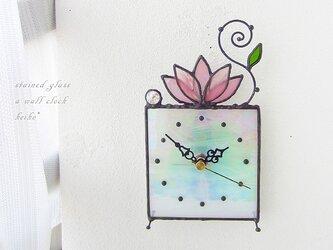 時計・ステンドグラス*掛け&置き・桃色のロータスの画像