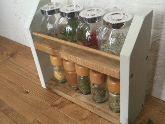 2段shelf 白×茶  スパイスラックの画像