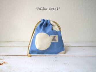 """コップ袋""""polka-dots!""""*ライトブルーの画像"""