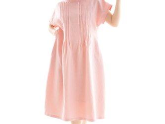 【wafu】リネンワンピース ピンタック オフネックドレス シルクオーガンジー/ローズソーモン a81-18の画像