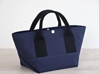 帆布 トート・大人カラーの ミニトート ネイビー キャンバス バッグの画像