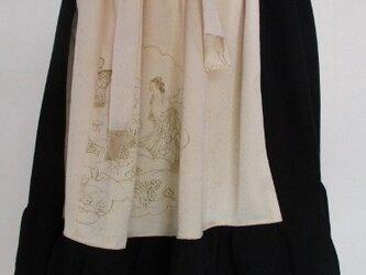 送料無料 訪問着と黒の漆織りの着物で作った膝丈スカート3308の画像