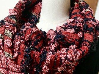 着物リメイク 手織り マフラー&あずま袋 2wayの画像