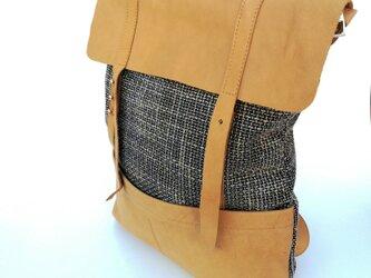 フレンチモロッコ スラブ ダークグレー リュック  レザーフリップ & ポケットの画像