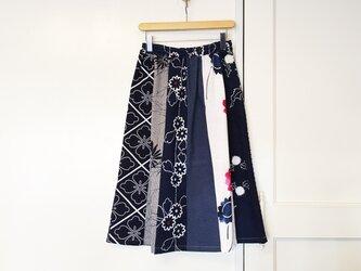 着物リメイク 浴衣地はぎスカート(SK010)の画像