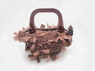 [cyane]basket bag / brown & orange marble × handle:brownの画像