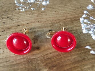 Antique button earrings (Red)の画像