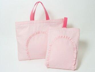 【2点セット】フリル 入園入学バッグ ピンク Kidsの画像