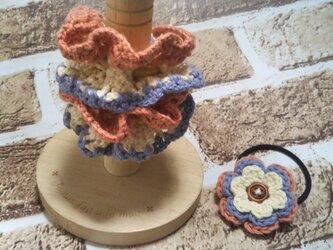 138*親子でお揃いコーデ シュシュ&ヘアゴム ゴム入れ換え可能 花 フラワーの画像