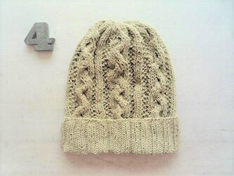 コットン帽子・なわ編み×かのこ編み[グレーベージュ]の画像