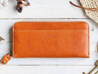 <送料無料>やさしいカラーのヌメ革財布 キャメル ラウンドファスナー(レザー 牛ヌメ革)の画像