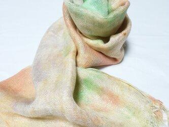 国産シルク100%手描き染めストール pale orange&green&yellow-の画像