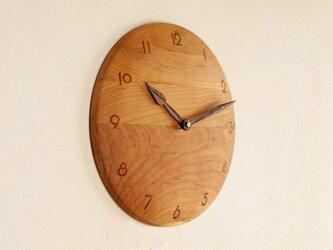 木製 掛け時計 丸 桜材6の画像