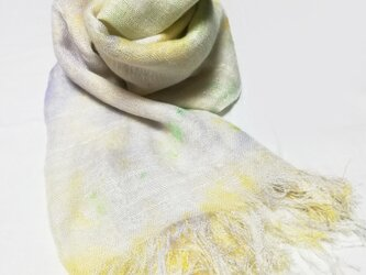 国産シルク100%手描き染めストール pale green&yellow&purple-の画像