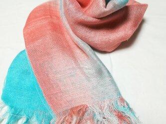 国産シルク100%手描き染めストール pink&blue-の画像