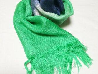 国産シルク100%手描き染めストール green&navy blue-の画像