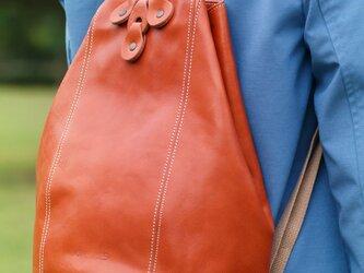 <送料無料>ナチュラルテイストのヌメ革リュック オレンジ(レザー 牛ヌメ革)の画像
