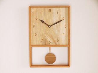 木製 箱型 振り子時計 ケヤキ材4の画像