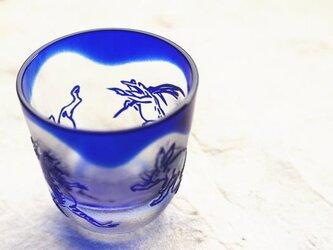 【再販】ガラス製 筒形ぐい呑み「鳥獣戯画」瑠璃・其の弐の画像